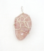 Strawberry Quartz Gemstone Wire Wrapped Pendant